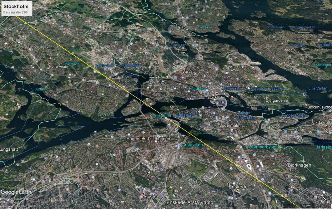 Bild 2. Astrids passage över Stockholm city vid 9-tiden den 23/6. Karta Ulrik Lötberg
